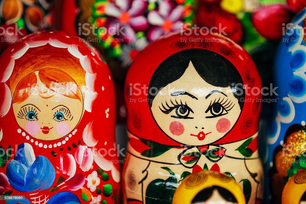 Colorful Russian Nesting Dolls Matreshka Matrioshka At Market stock photo
