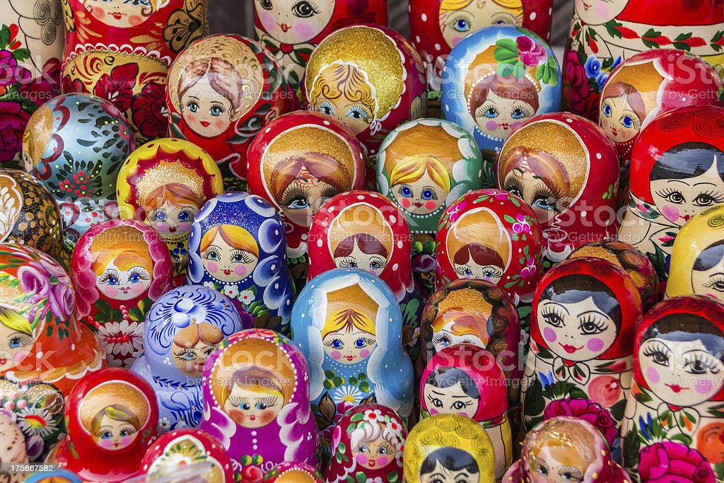 Colorful russian wooden dolls stock photo
