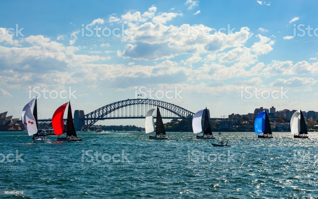 Colorful sailboats with spinnakers crossing Sydney Harbor in front of the iconic bridge in the background royalty-free stock photo