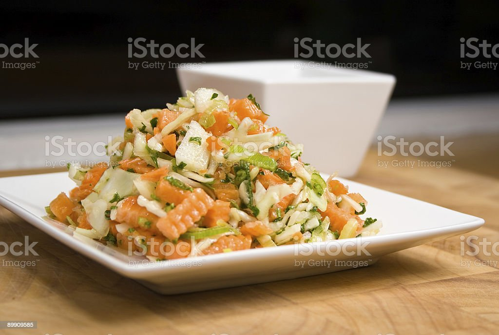 Colorful salad with carrot and leek royalty-free stock photo
