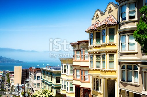 Colorful San Francisco building tops with Bay on a Sunny day. Oblique view with copy space.