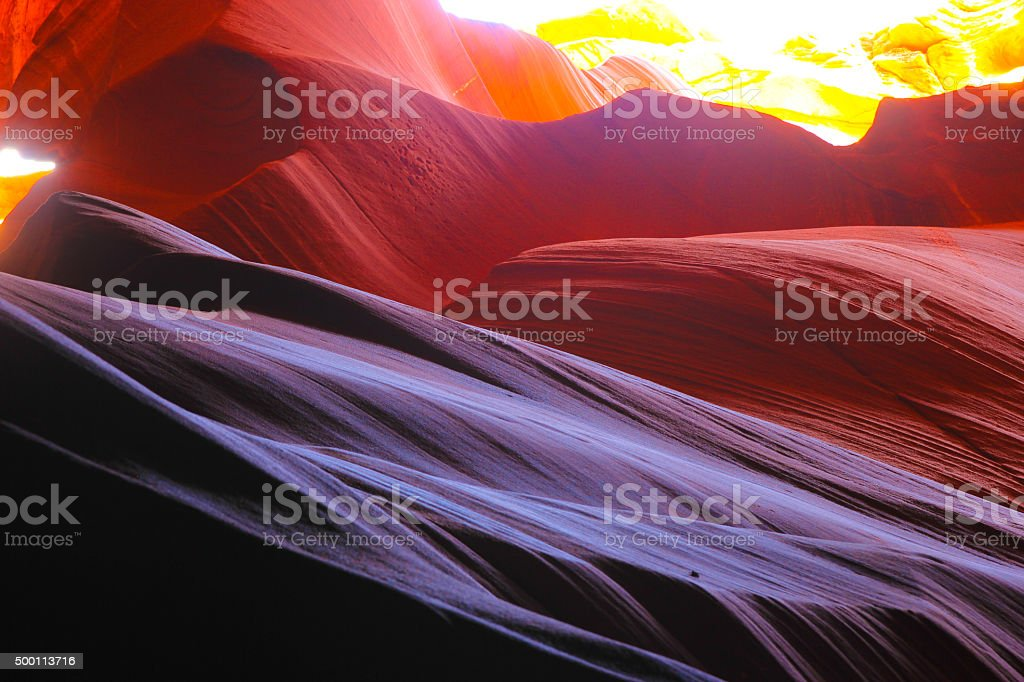 Colorful sandstone formations within canyon stock photo