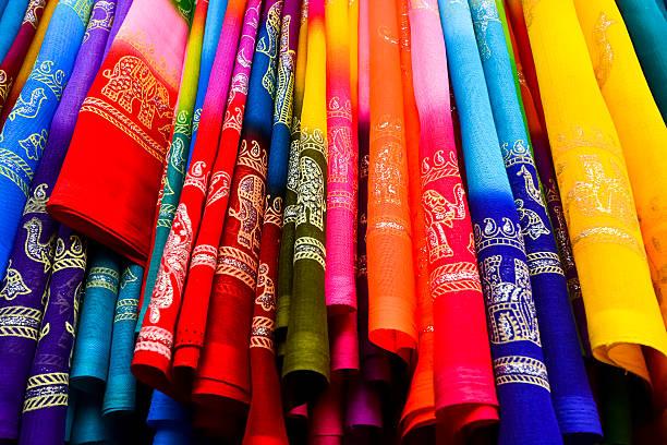 색상화 Saree (Sari) 배경 스톡 사진