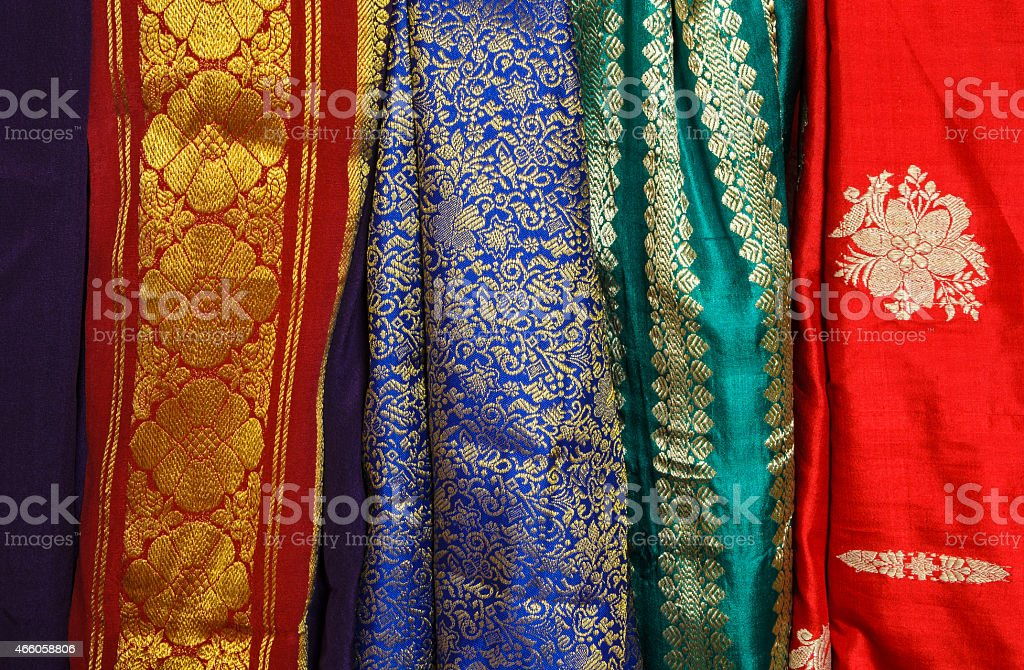 Colorful Sari Fabric stock photo