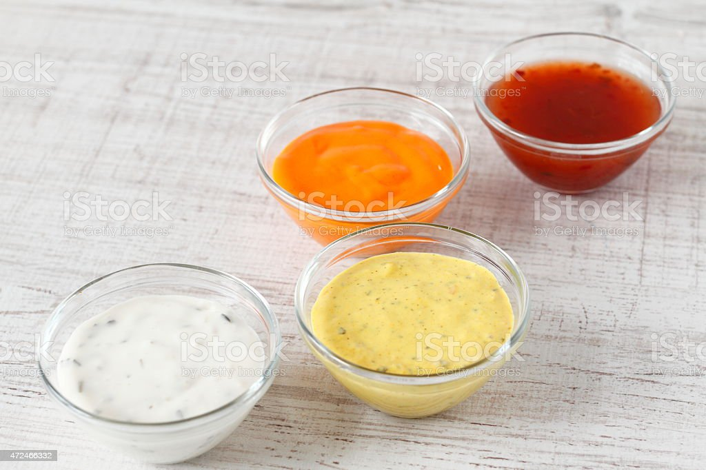 Colorful sauces stock photo