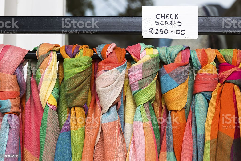 Colorful Scarves for Sale in South Africa stock photo