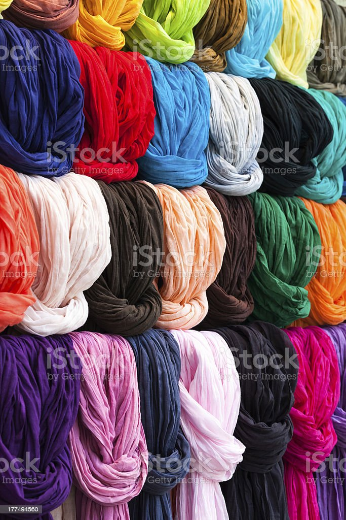 Colorful Scarves in a French Shop stock photo