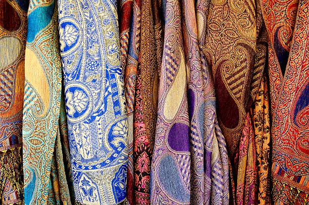 Colorful scarves. stock photo