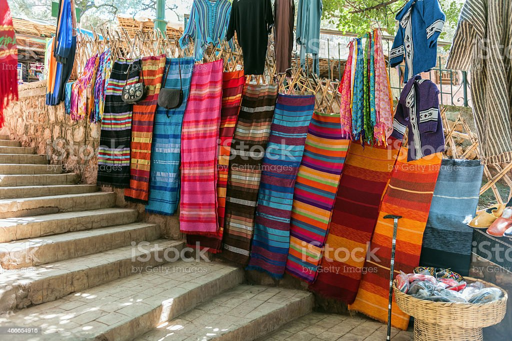 Many colored scarves,Traditional dress at the street market, Ouzoud,...