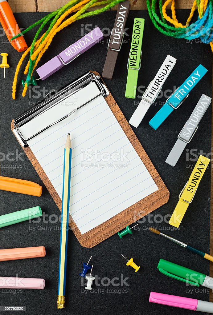 colorful school and office stationery background stock photo