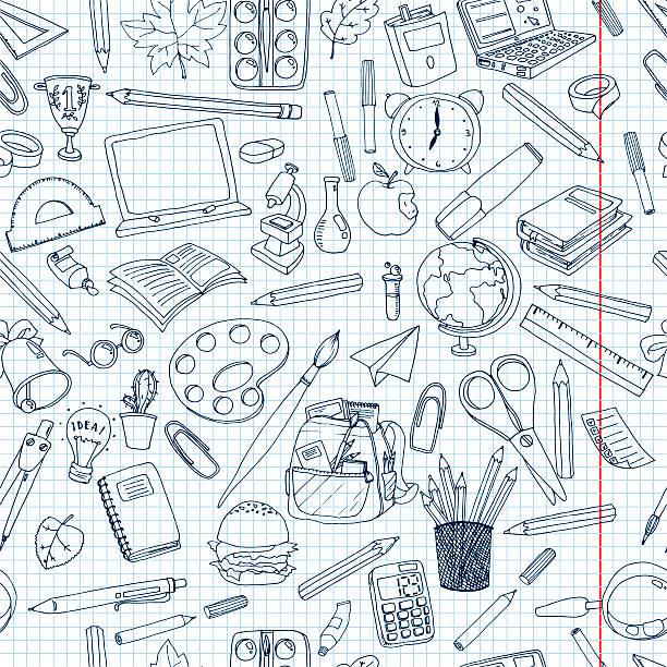 bunte schule-muster. nahtlose textur mit stifte, bücher - zeichnen lernen mit bleistift stock-fotos und bilder