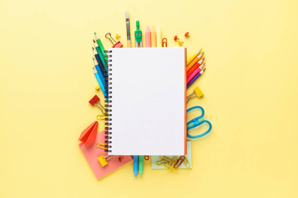 Colorful school stationery and supplies on yellow background. Colorful school stationery and supplies collection on yellow background. Back to school concept. Copy space. school supplies stock pictures, royalty-free photos & images