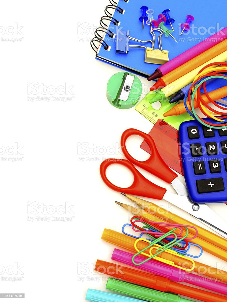 Colorful school supplies border over white stock photo