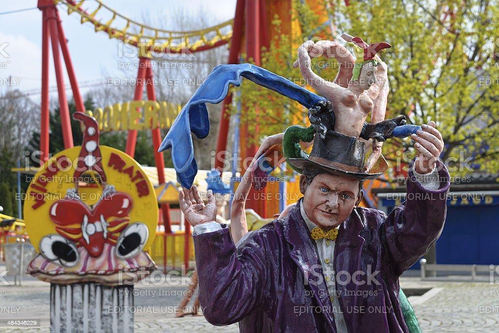 Colorful sculpture in Prater amusement park, Vienna, Austria stock photo