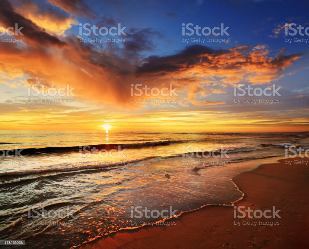 Colorful Sea Sunst - Sandy Beach royalty-free stock photo