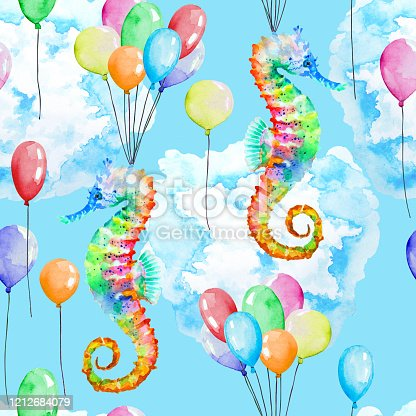 503495120 istock photo Colorful seahorse, multicolored balloons and cloud, seamless pattern, watercolor. 1212684079