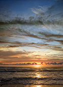 Empty colorful seascape image over sunset sky in Florida