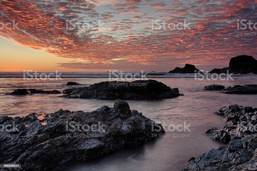 Colorful Seascape Ocean Sunset With Clouds stock photo