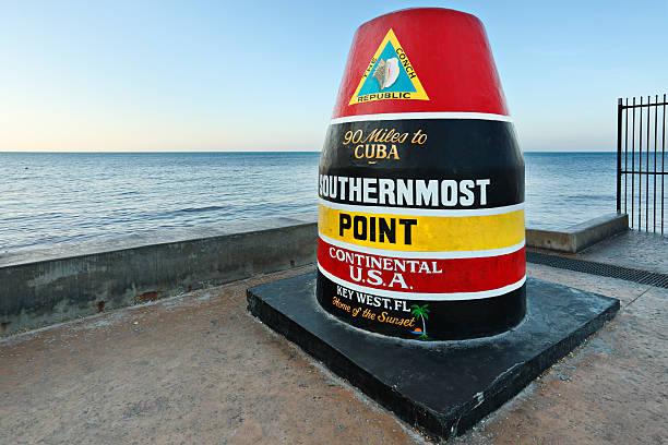 Colorful seaside Key West landmark marks southern tip of USA stock photo
