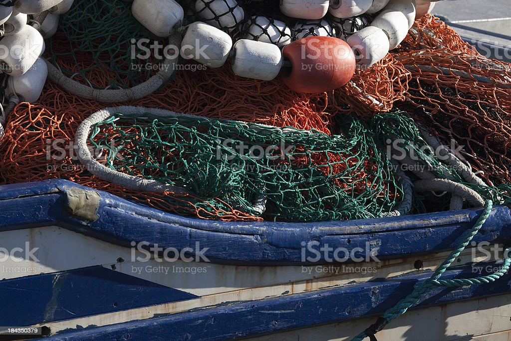 Colorful Seining Nets on commercial fishing boat at Valdez Alaska stock photo