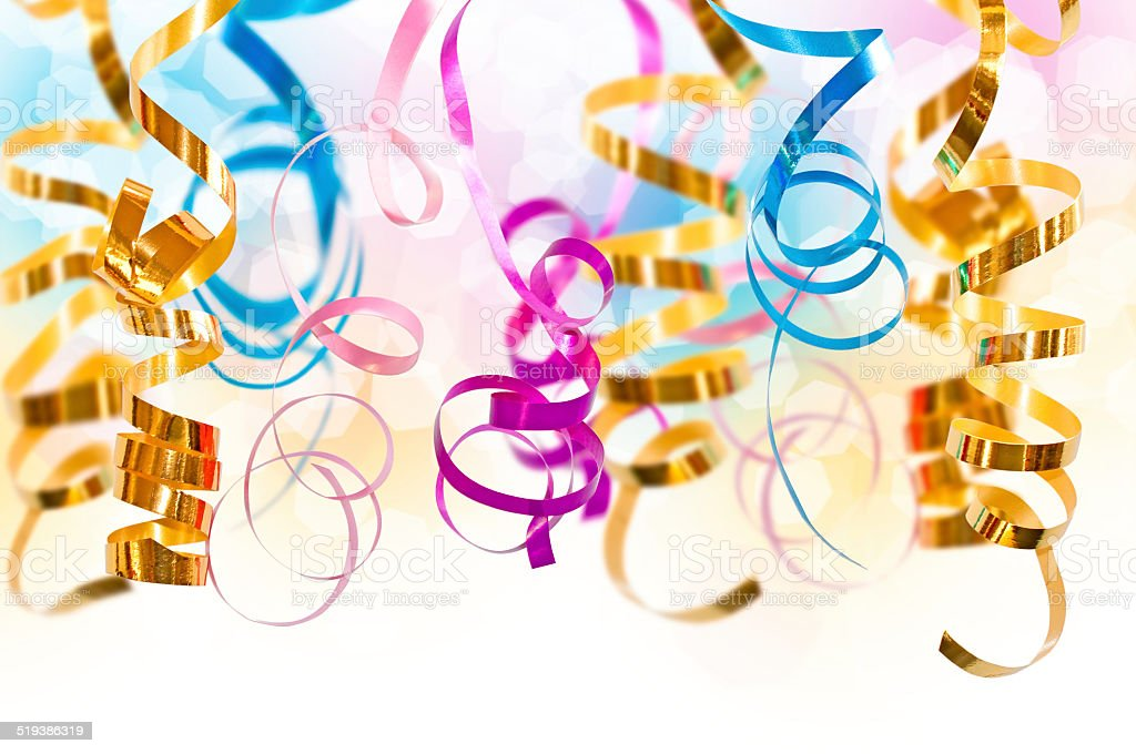 Colorful serpentine streamers stock photo
