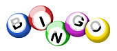 A colorful set of bingo balls illustration isolated on white with clipping path