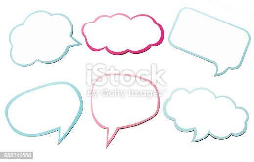 istock Colorful set of different speech bubble as a cloud isolated on empty white background. 688349556
