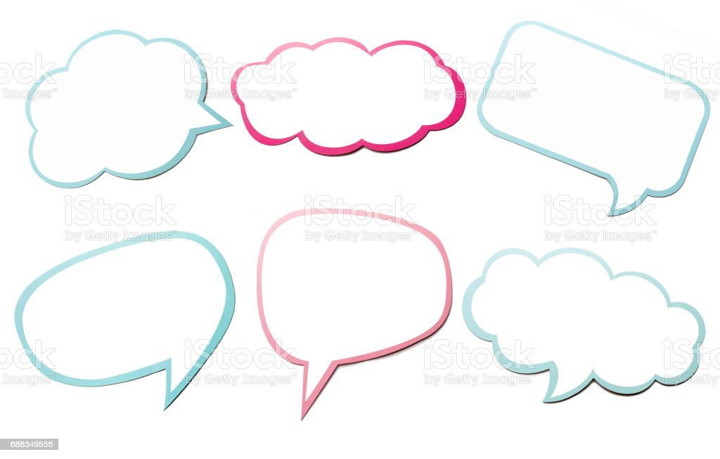Colorful set of different speech bubble as a cloud isolated on empty white background. - fotografia de stock
