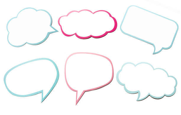 Colorful set of different speech bubble as a cloud isolated on empty white background. stock photo