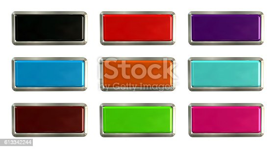 istock Colorful set of rectangle horizontal shiny banner buttons 613342244