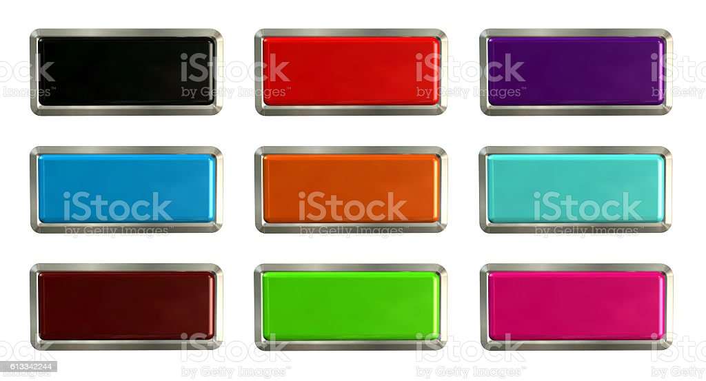 Colorful set of rectangle horizontal shiny banner buttons stock photo