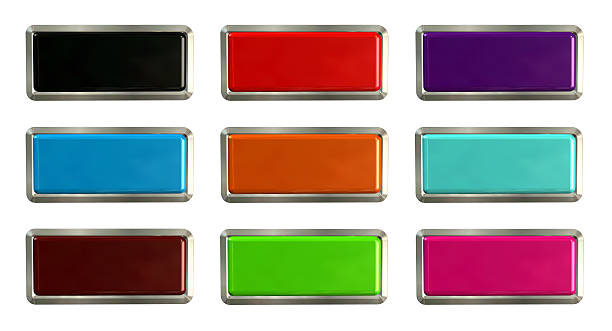 Colorful set of rectangle horizontal shiny banner buttons - foto de stock
