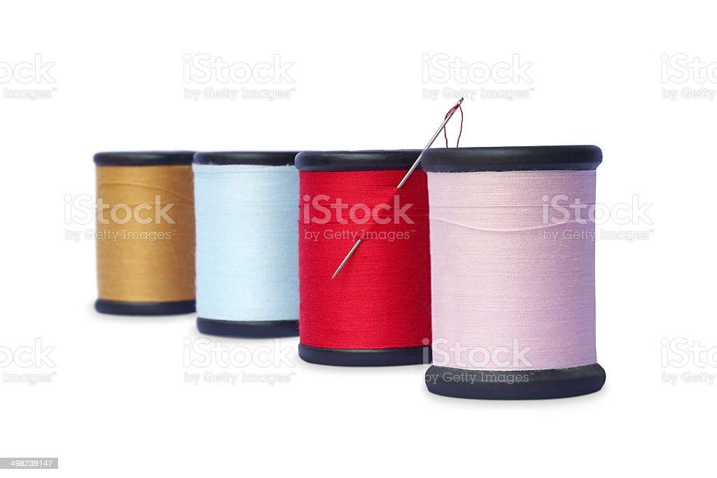 Colorido, costura encadeamentos isolado no fundo branco - foto de acervo