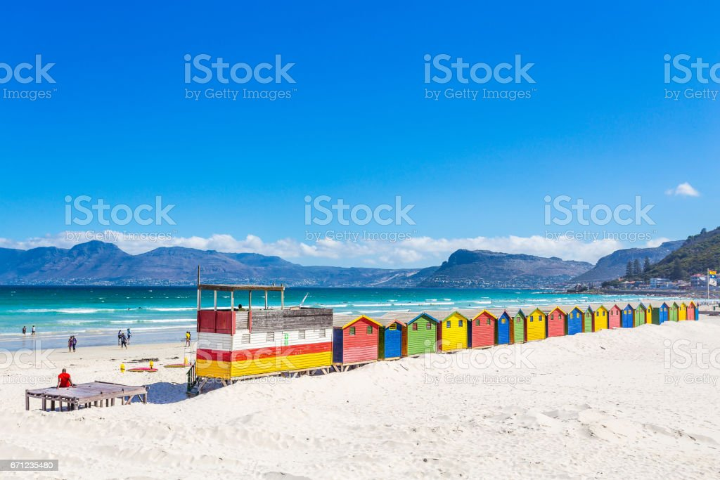 Colorful shacks in Muizenberg Beach stock photo