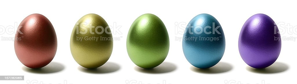 Colorful Shiny Eggs on White Background royalty-free stock photo