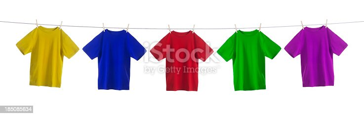 istock Colorful Shirts Hanging on a Clothesline 185085634