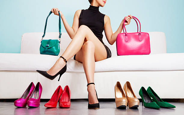 colorful shoes and bags with woman. shopping fashion images. - shoes fashion stock photos and pictures