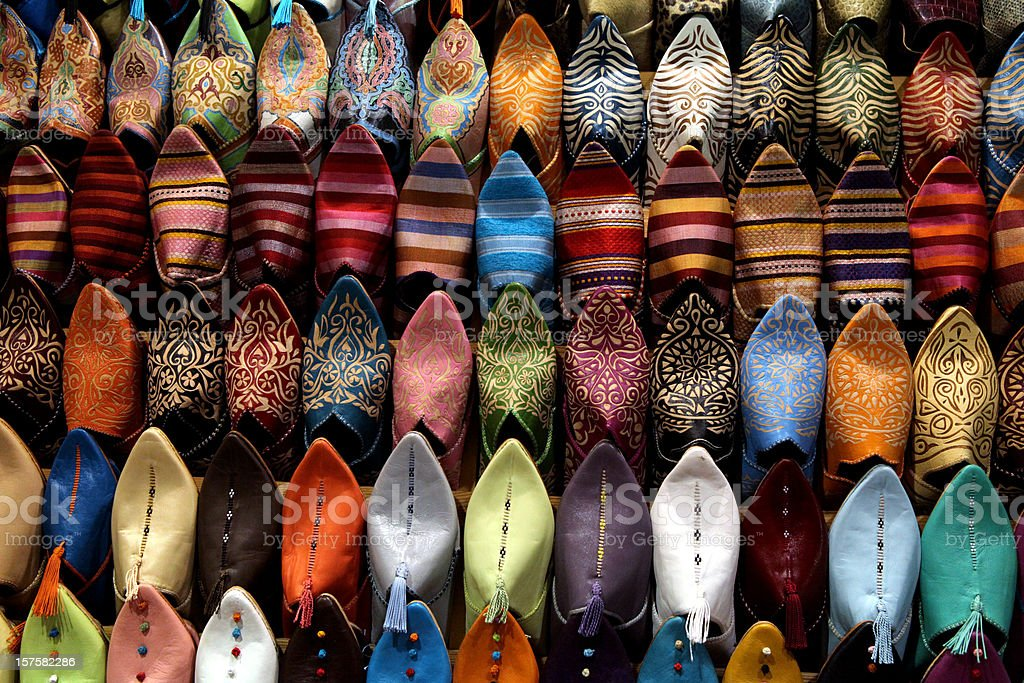 Colorful shoes for sale at street market in Marrakesh, Morocco royalty-free stock photo