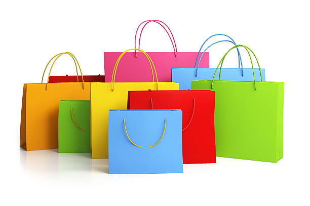 Colorful shopping bags Colorful shopping bags on white background medium group of objects stock pictures, royalty-free photos & images