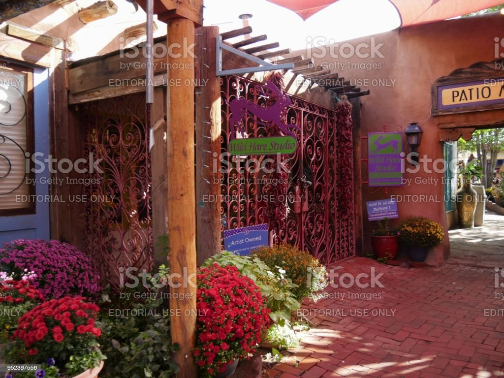 Colorful shops at Patio Market stock photo