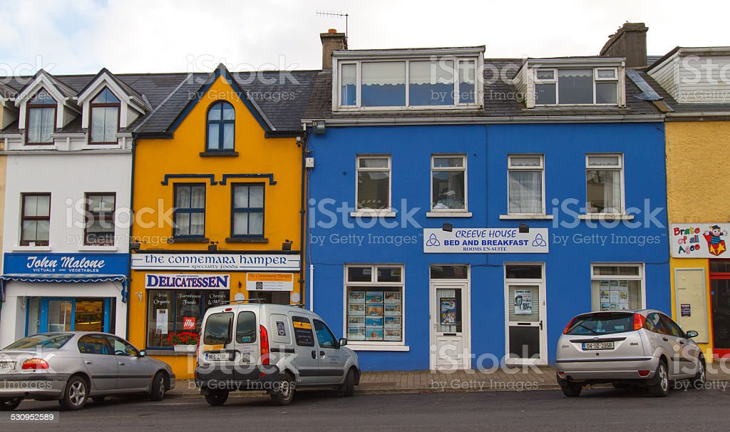 Colorful Shops in Clifden, Ireland stock photo