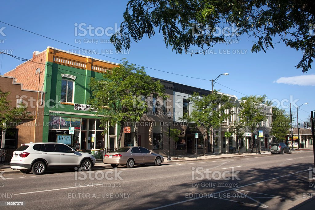 Colorful shops in historic downtown Littleton Colorado stock photo