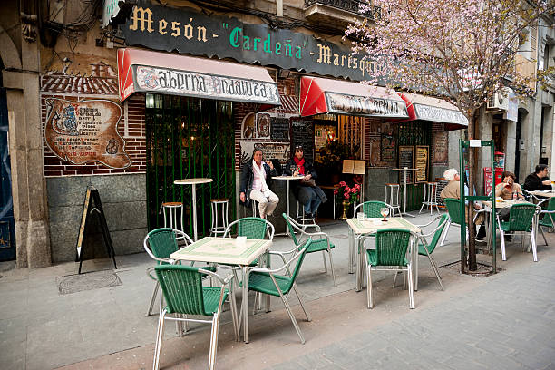 Colorful side walk tavern in Madrid stock photo