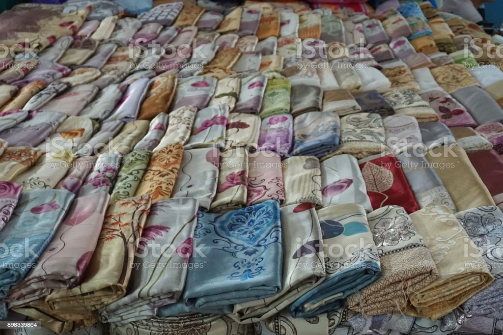 Colorful Silk Brocade Fabric For Sale In Hanoi Vietnam Stock Photo Download Image Now Istock