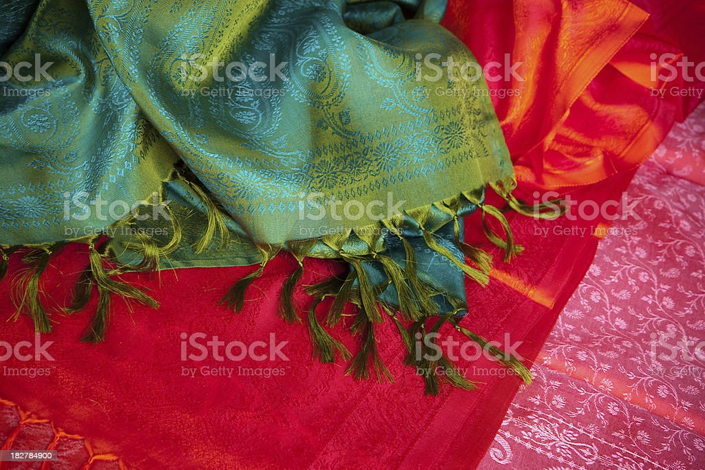 Colorful silk fabrics stock photo