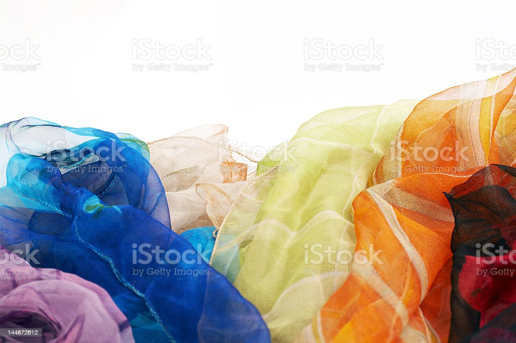 colorful silk scarfs background royalty-free stock photo