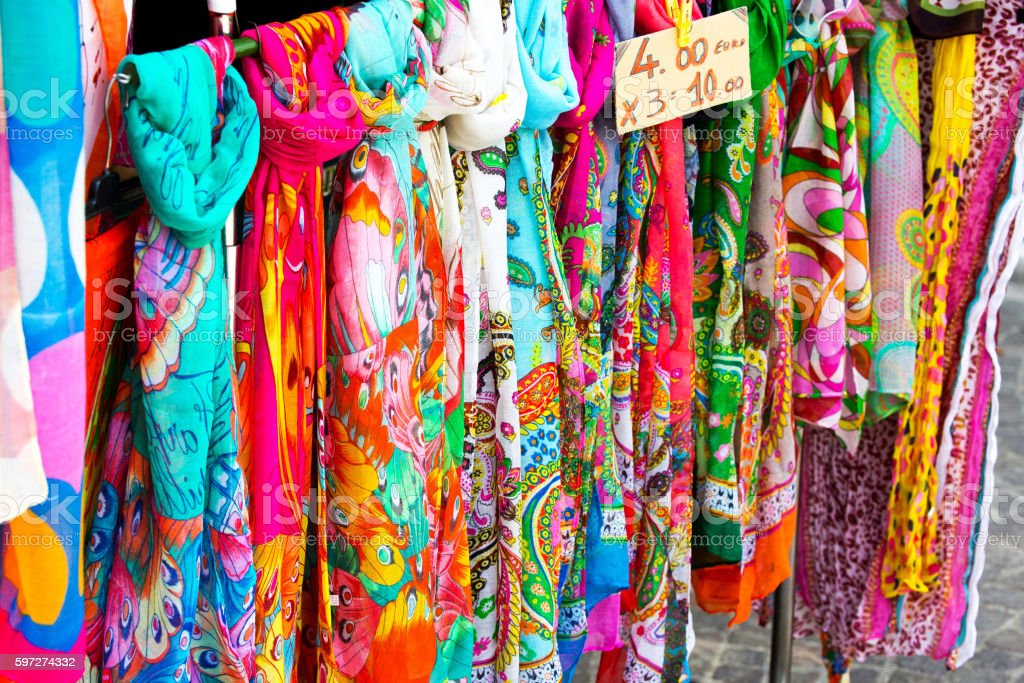 Colorful silk scarves royalty-free stock photo