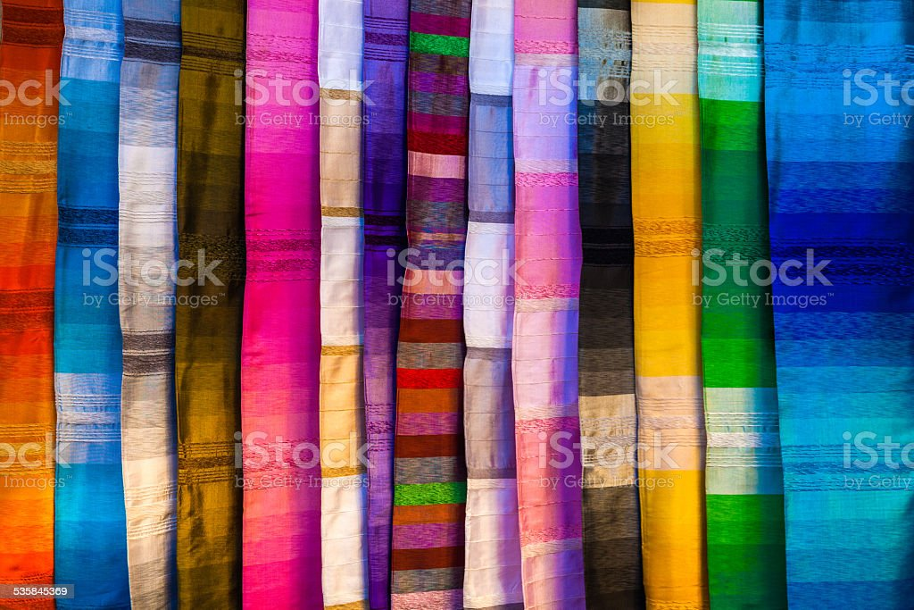 Colorful silk textiles stock photo