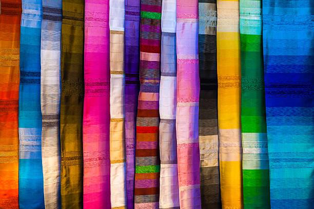 Colorful silk textiles stock photo