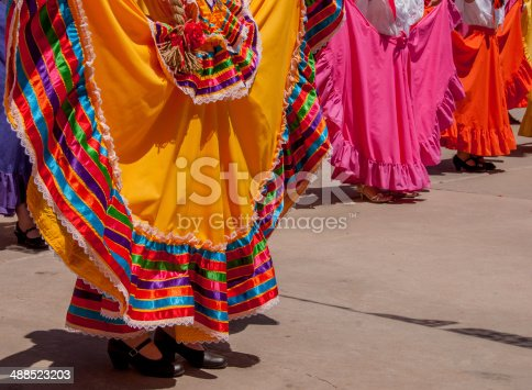 These colorful skirts were displayed during an authentic Mexican folk dance at a Cinco de Mayo Fiesta in Old Mesilla near Las Cruces, New Mexico.